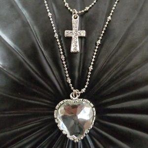 Betsey Johnson Ckear Heart Cross Layered Necklace